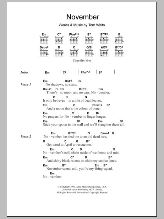 November | Sheet Music Direct