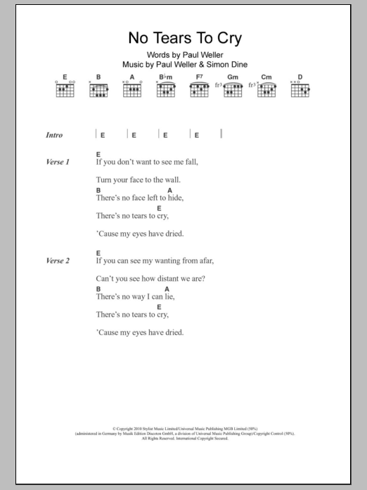 No Tears To Cry By Paul Weller Guitar Chordslyrics Guitar