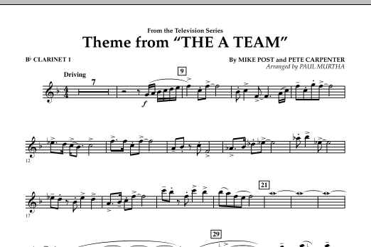 Theme from The A-Team - Bb Clarinet 1 (Concert Band)