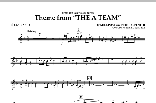 Theme from The A-Team - Bb Clarinet 2 (Concert Band)
