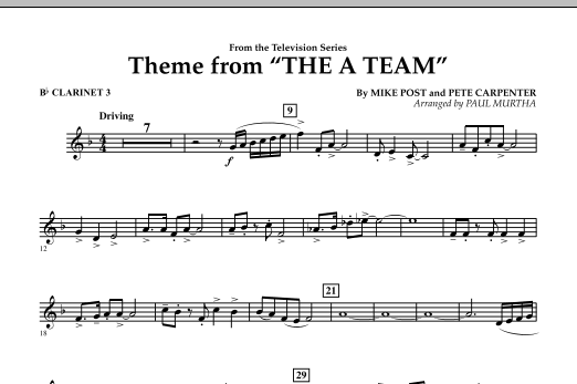 Theme from The A-Team - Bb Clarinet 3 (Concert Band)