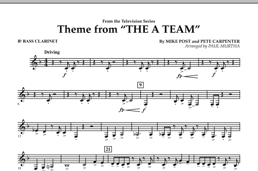 Theme from The A-Team - Bb Bass Clarinet (Concert Band)