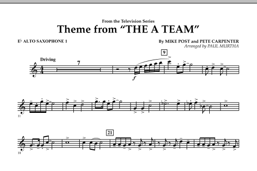 Theme from The A-Team - Eb Alto Saxophone 1 (Concert Band)