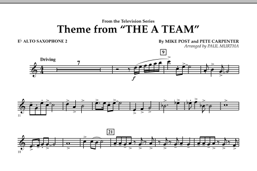 Theme from The A-Team - Eb Alto Saxophone 2 (Concert Band)
