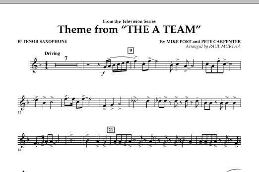 Theme from The A-Team - Bb Tenor Saxophone (Concert Band)
