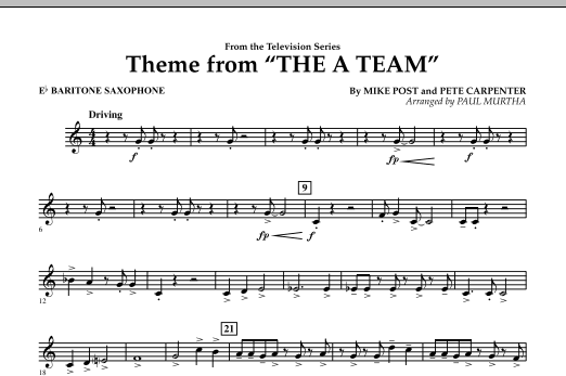 Theme from The A-Team - Eb Baritone Saxophone (Concert Band)