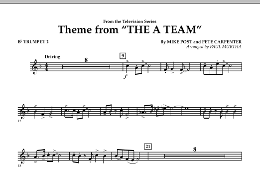 Theme from The A-Team - Bb Trumpet 2 (Concert Band)