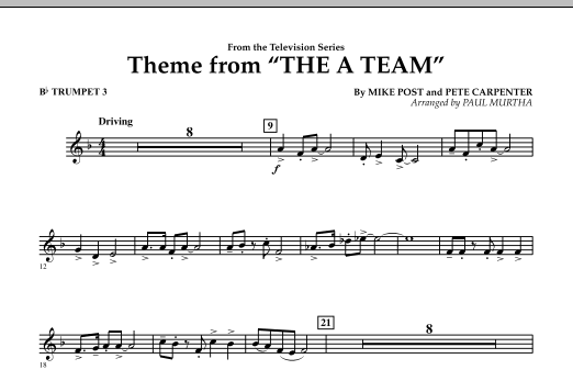 Theme from The A-Team - Bb Trumpet 3 (Concert Band)