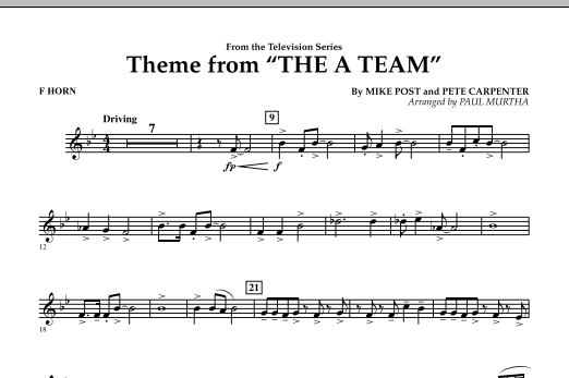 Theme from The A-Team - F Horn (Concert Band)