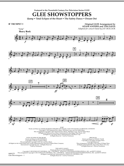 Glee Showstoppers - Bb Trumpet 3 (Concert Band)