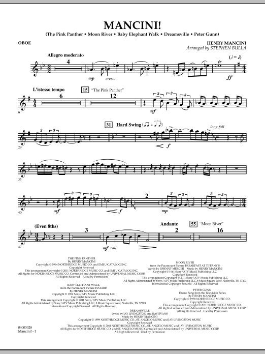 Mancini! - Oboe (Concert Band)