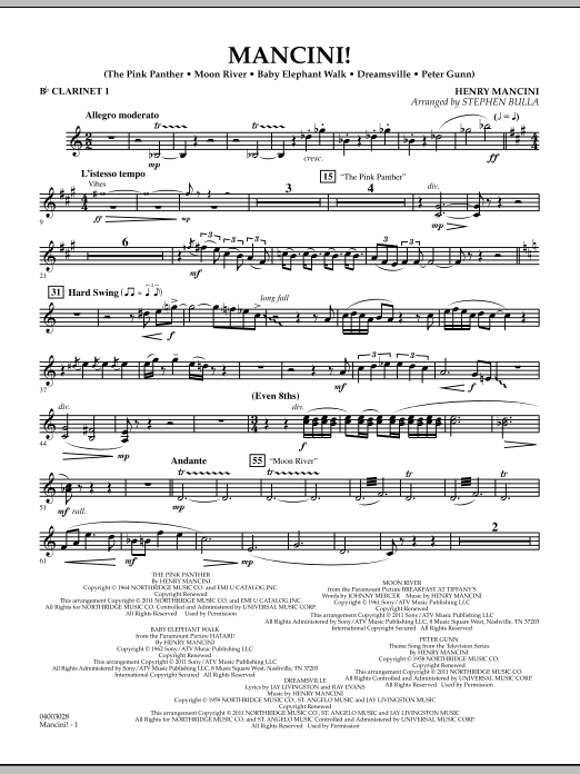 Mancini! - Bb Clarinet 1 (Concert Band)