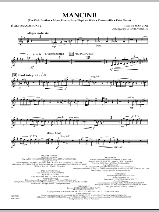 Mancini! - Eb Alto Saxophone 2 (Concert Band)
