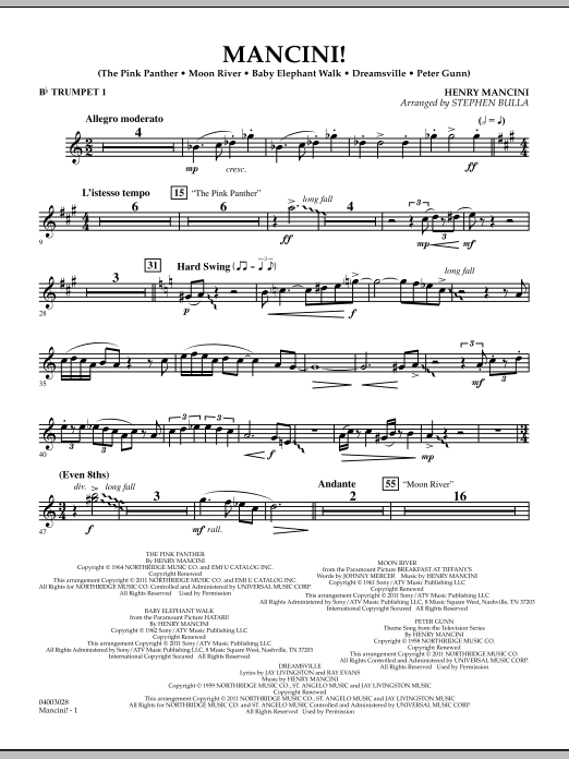 Mancini! - Bb Trumpet 1 (Concert Band)