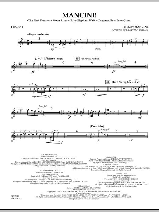 Mancini! - F Horn 1 (Concert Band)