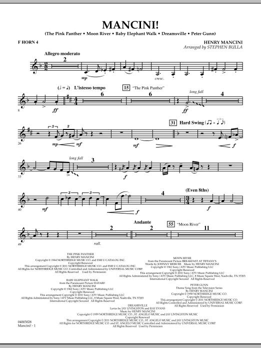 Mancini! - F Horn 4 (Concert Band)