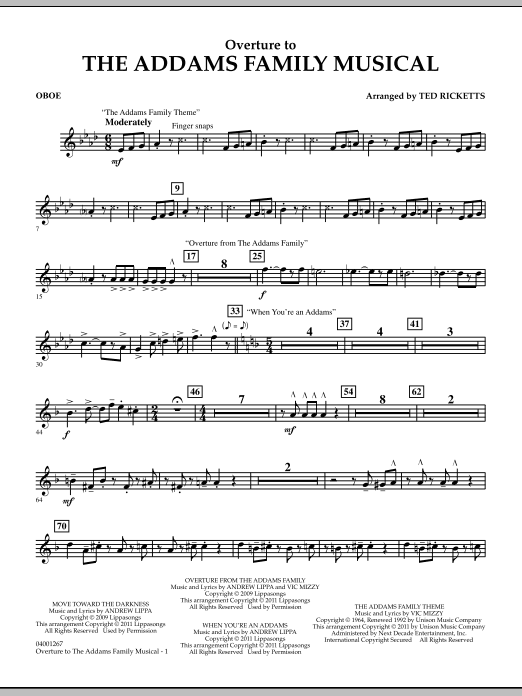 Overture to The Addams Family Musical - Oboe (Concert Band)