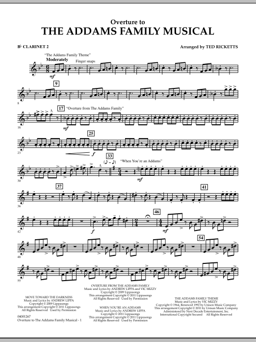 Overture to The Addams Family Musical - Bb Clarinet 2 (Concert Band)