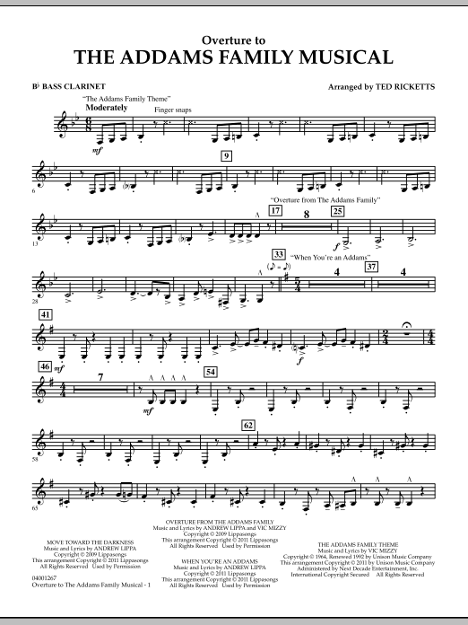Overture to The Addams Family Musical - Bb Bass Clarinet (Concert Band)