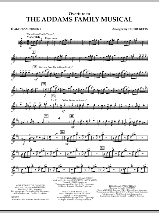 Overture to The Addams Family Musical - Eb Alto Saxophone 1 (Concert Band)