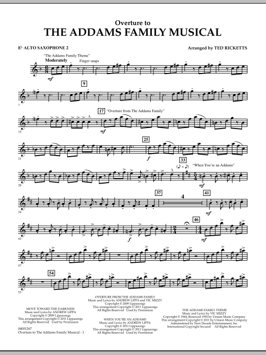 Overture to The Addams Family Musical - Eb Alto Saxophone 2 (Concert Band)