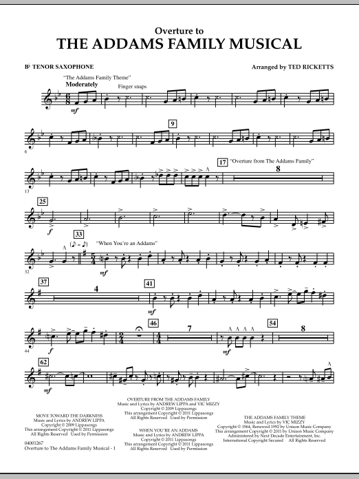 Overture to The Addams Family Musical - Bb Tenor Saxophone (Concert Band)