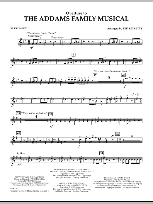 Overture to The Addams Family Musical - Bb Trumpet 1 (Concert Band)