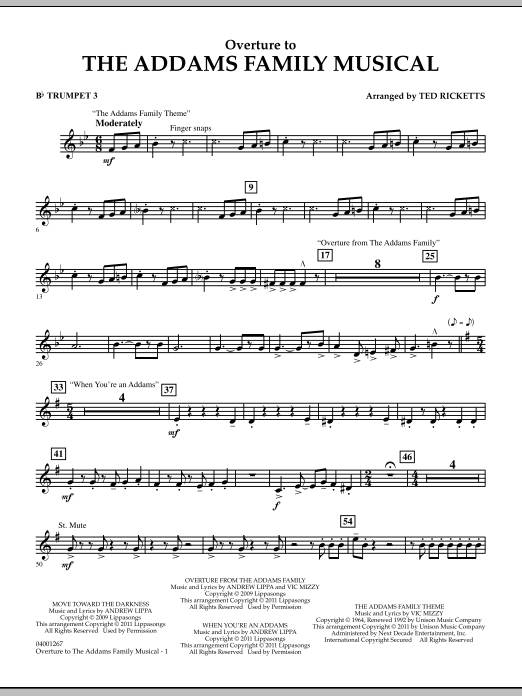 Overture to The Addams Family Musical - Bb Trumpet 3 (Concert Band)