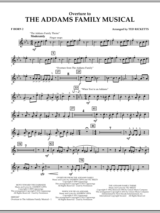 Overture to The Addams Family Musical - F Horn 2 (Concert Band)