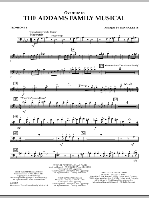 Overture to The Addams Family Musical - Trombone 1 (Concert Band)
