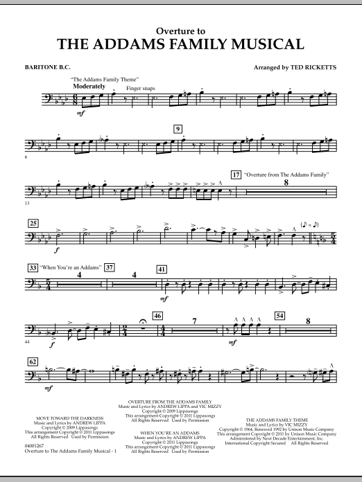 Overture to The Addams Family Musical - Baritone B.C. (Concert Band)