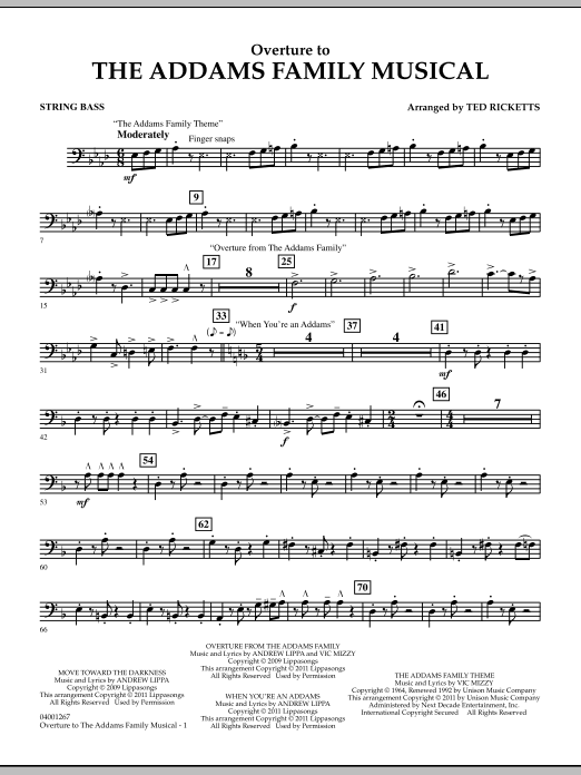 Overture to The Addams Family Musical - String Bass (Concert Band)