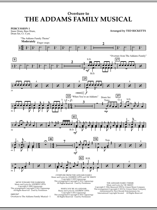 Overture to The Addams Family Musical - Percussion 1 (Concert Band)