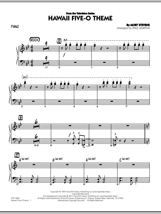 Hawaii Five-O Theme - Piano (Jazz Ensemble)