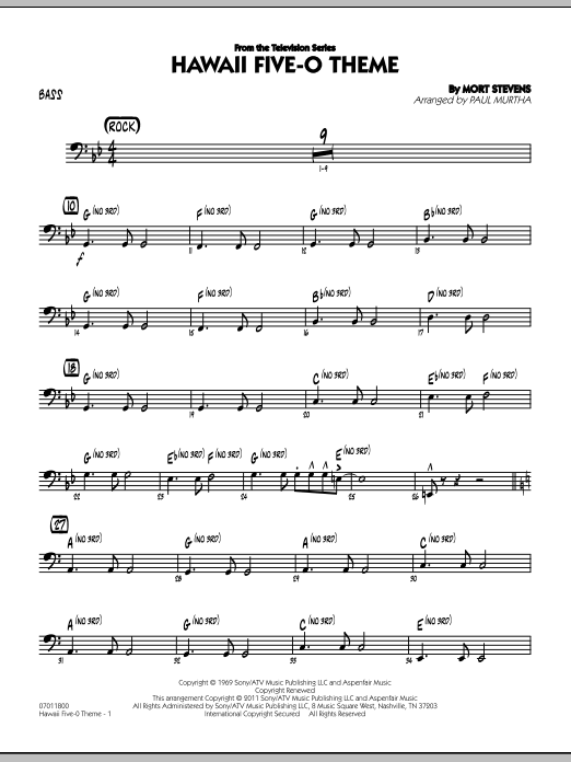 Hawaii Five-O Theme - Bass (Jazz Ensemble)