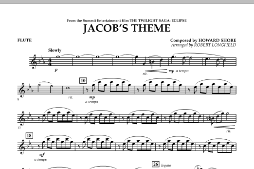 Jacob's Theme (from The Twilight Saga: Eclipse) - Flute (Concert Band)