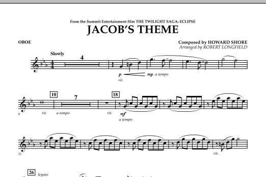 Jacob's Theme (from The Twilight Saga: Eclipse) - Oboe (Concert Band)