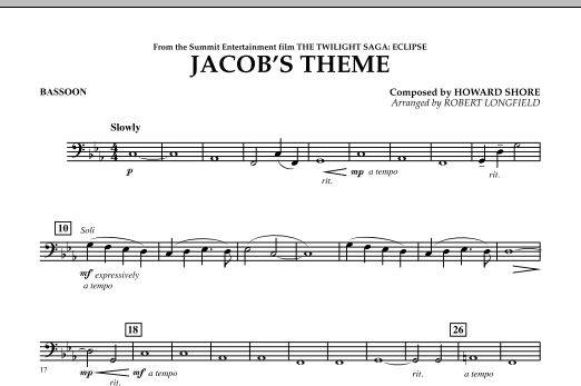 Jacob's Theme (from The Twilight Saga: Eclipse) - Bassoon (Concert Band)