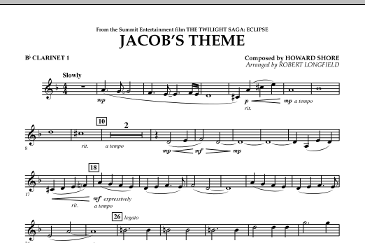 Jacob's Theme (from The Twilight Saga: Eclipse) - Bb Clarinet 1 (Concert Band)