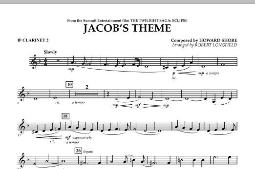 Jacob's Theme (from The Twilight Saga: Eclipse) - Bb Clarinet 2 (Concert Band)