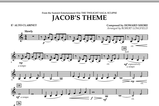 Jacob's Theme (from The Twilight Saga: Eclipse) - Eb Alto Clarinet (Concert Band)