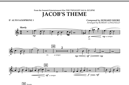 Jacob's Theme (from The Twilight Saga: Eclipse) - Eb Alto Saxophone 1 (Concert Band)