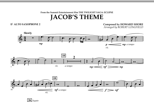 page one of Jacob's Theme (from The Twilight Saga: Eclipse) - Eb Alto Saxophone 2ASALTTEXT