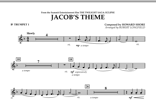 Jacob's Theme (from The Twilight Saga: Eclipse) - Bb Trumpet 1 (Concert Band)