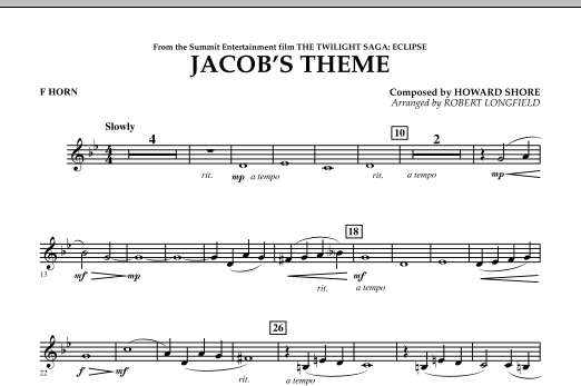 Jacob's Theme (from The Twilight Saga: Eclipse) - F Horn (Concert Band)