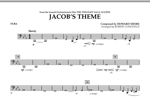 Jacob's Theme (from The Twilight Saga: Eclipse) - Tuba (Concert Band)