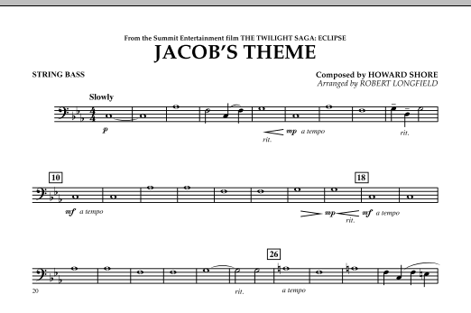 Jacob's Theme (from The Twilight Saga: Eclipse) - Bass (Concert Band)