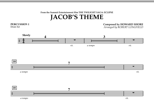 Jacob's Theme (from The Twilight Saga: Eclipse) - Percussion 1 (Concert Band)