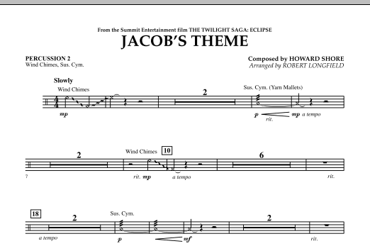 Jacob's Theme (from The Twilight Saga: Eclipse) - Percussion 2 (Concert Band)