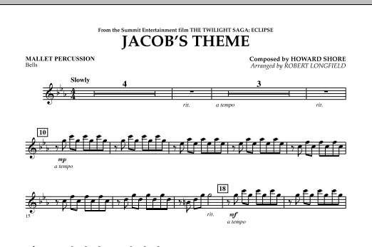 page one of Jacob's Theme (from The Twilight Saga: Eclipse) - Mallet PercussionASALTTEXT